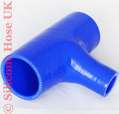 Silicone 63mm ID Tpiece Hose T-Piece Dump Valve Silicon Coolant Joiner - Blue