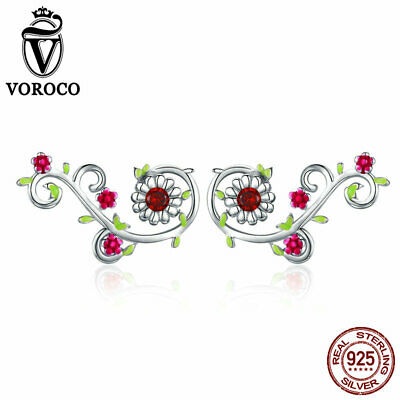 VOROCO 925 Sterling Silver Beautiful Flower Branch Earring Stud With AAA Red CZ