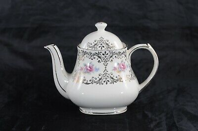 Vintage Sadler Teapot Pink Rose Design Gold Accents #3669 Made in England