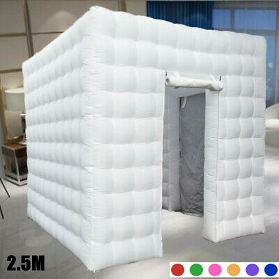 2.5M Inflatable Photo Booth LED Lighting Tent Air Pump Party Double Door+RC USA