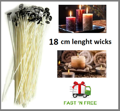 18cm Quality Waxed Wicks For Candle Making With Sustainers  Art Studio Home