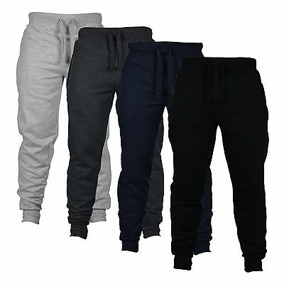 Men's Fleece Joggers Jogging Tracksuit Bottoms Elasticated Cuffed Trousers M L