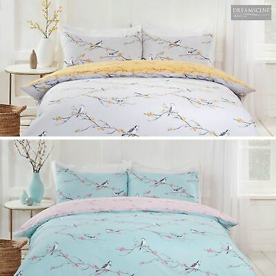 Dreamscene Blossom Bird Quilt Cover with Pillowcase Bedding Set Grey Blush Ochre