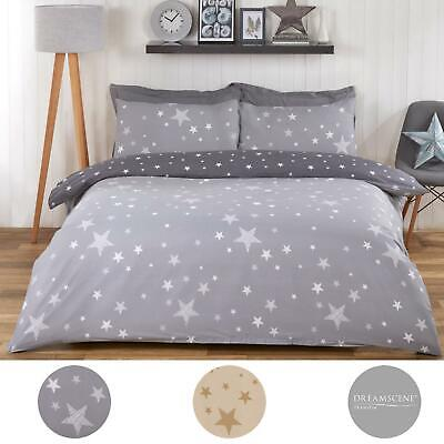 Dreamscene Galaxy Stars Duvet Cover with Pillowcase Kids Bedding Set Silver Grey