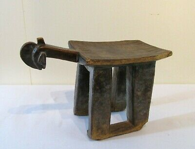 Antique African Mossi Stool Tribal Figural Carved Burkina Faso Late 19th Century