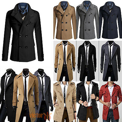 New Mens Winter Trench Coat Double Breasted Outdoor Long Jacket Formal Overcoat