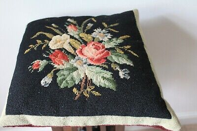 A Very Pretty 1930s Black & Burgundy Needlepoint,Tapestry,Cushion,Feather Filled