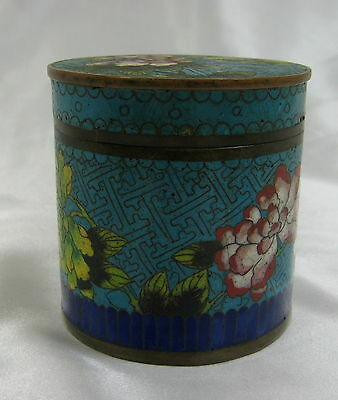 19Th Century Floral Chinese Cloisonne Round Jar Box W/ Lid
