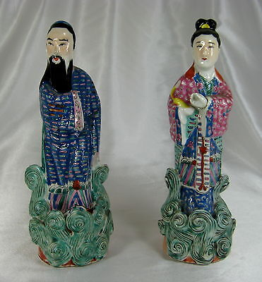 Antique Pair Chinese Famille Rose Enamel Porcelain Figures - Republic Period