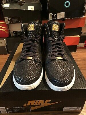 d39861d598b1f5 Jordan 1 Retro High Pinnacle SZ 14 Black 24K Gold 705075-030 Top 3 Bred