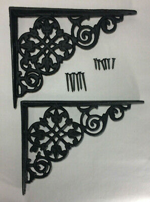 "1 Pair of Cast Iron Shelf Brackets New Pennsylvania Dutch Motif 7 7/8"" Long #617"