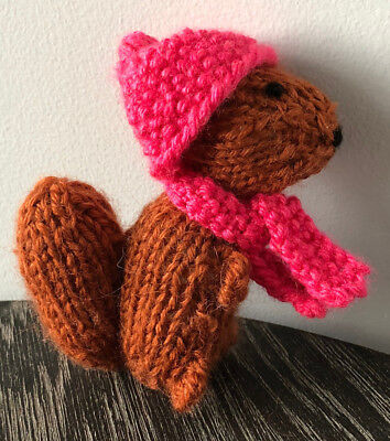 Hand Made Red Squirrel With Hat & Scarf New Proceeds To Charity