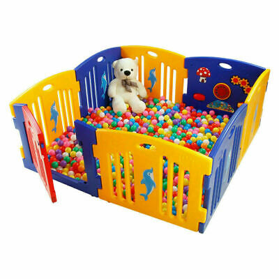 Plastic Baby Kids Playpen with Activity panel & Floor Mats 8 Sides UK Yard Home
