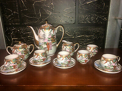 Japanese original Antique Eggshell Porcelain Tea Set - Excellent Cond-Very Rare!