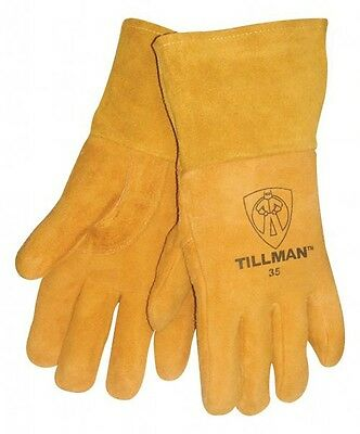 "Tillman 35 Medium MIG Welding Gloves Heavyweight Golden Deerskin 4"" Cuff 1Pair"