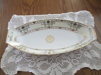 Vintage Nippon Gold Gilt Moriage & Ivory Beaded Floral Double Handle Celery Dish