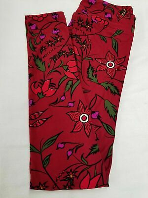 dc8e0cb7f4f0f New LuLaRoe OS One Size Leggings maroon green purple flowers floral  gorgeous wow