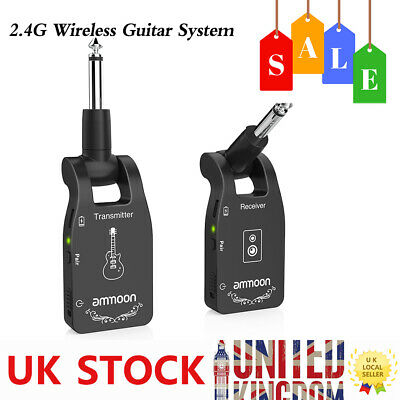 ammoon 2.4G Wireless Guitar System Transmitter & Receiver Rechargeable T1N3