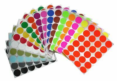"Colored Sticker Dots 25mm Assorted Colors 1"" Inch Round Craft Labels 432 Pack"