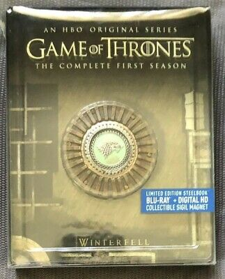 Game Of Thrones Season 1 Steelbook Blu-ray Digital HD 5 Disc Collectible Magnet