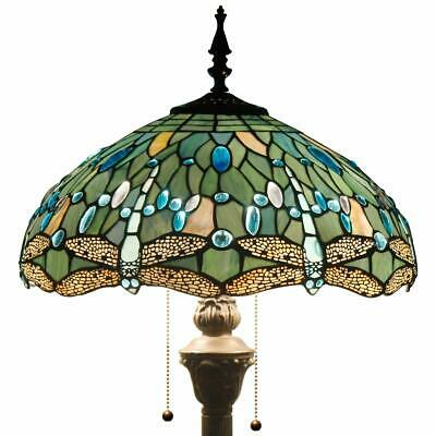 Tiffany Style Floor Standing Lamp 64 Inch Tall Sea Blue Stained Glass Shade