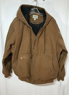 cfc35371cf317 Cabela's Roughneck Men's Washed Canvas Hooded Jacket with Thinsulate Brown  Large