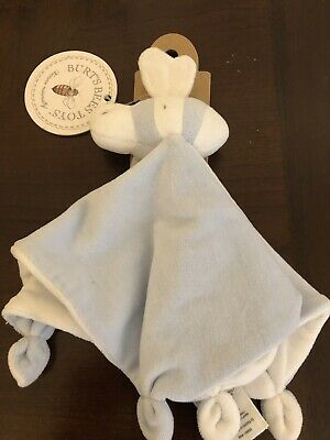 NWT Burts Bees Baby Sky Blue Hold Me Bee Organic Velour Security Blanket A1