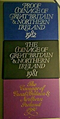 Proof Set 1980 81 82  Decimal Coinage  Great Britain & Northern Ireland 3 sets