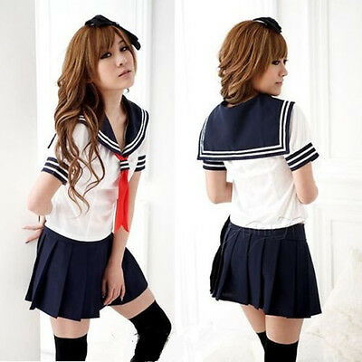 HOT! Japanese High School Girl Sailor Uniform Japan Cosplay Costume dress Ladies