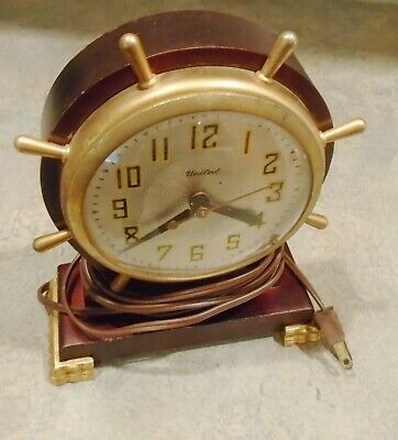Vintage 1940s United Electric Nautical Ship's Wheel CLOCK Works!!!