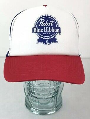 PBR Pabst Blue Ribbon Beer Mesh Trucker Hat Snapback Adjustable Cap