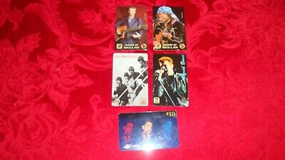 5 VINTAGE COLLECTIBLE PRE PAID PHONE CARDS Rock Stars