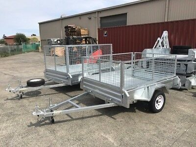 "6x4 Galvanised Box Trailer Heavy Duty Checker Plate 600mm cage TIPPER 14"" wheels"