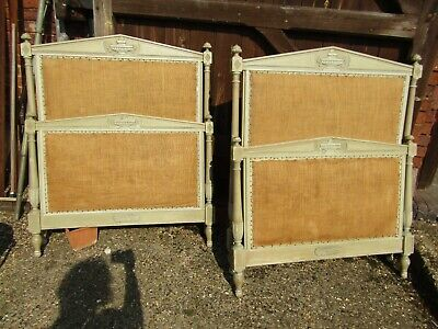 Gorgeous Pair Of Original Painted French Single Carved Beds Ready For Recovering