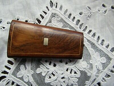 Wonderful Antique French Chisel Rosewood Inlaid Etui Sewing Box Empty Scissors