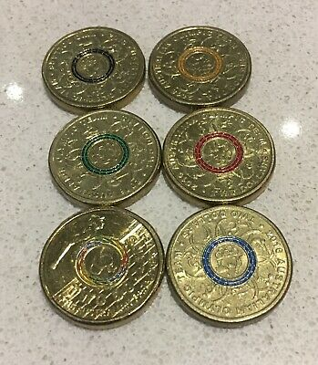6 Coin Set 6 X $2 Two Australian Coin Set Cir 2016 Olympic Set