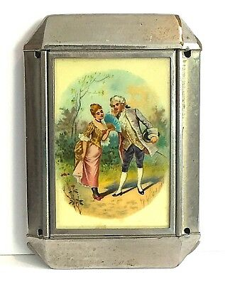 Vintage Compact Powder Rouge Celluloid Cover Couple Courting Silver Pats Pending