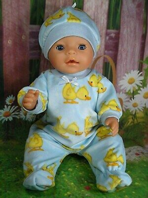 "Dolls clothes  for 17"" Baby Born  doll~YELLOW DUCKLING/SKY BLUE JUMPSUIT & HAT"