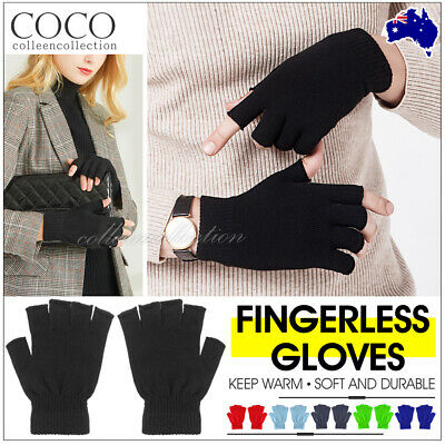 Women Men Fashion New Hot Selling Knit Touch Screen Winter Fingerless Gloves  Au