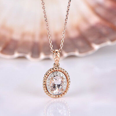 14K Rose Gold Plated 925 Sterling Silver Morganite Oval & CZ Rope Halo Pendant