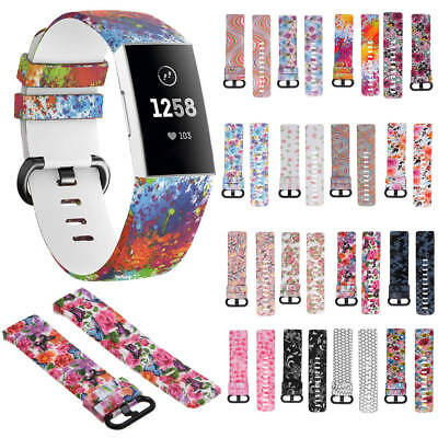 S/L Classic Print Silicone Watch Strap Bracelet Wrist Bands For Fitbit Charge 3