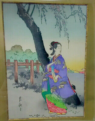 Vintage Japanese Woodblock Print Hand Coloured Depicting Lady Beneath a Tree