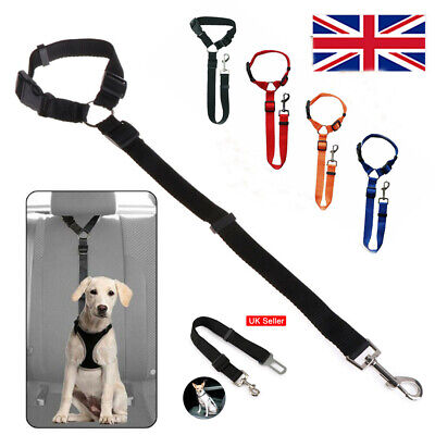 For Dog Pet Adjustable Car Safety Seat Belt Harness Travel Lead Restraint UK