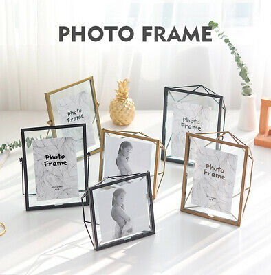 Metal Glass Double Sided Desktop Photo Picture Frame Vintage Industrial Style