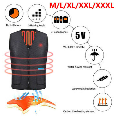 Electric USB Winter Heated Warm Vest Jacket Heating Wind Resistant Coats M1Q6