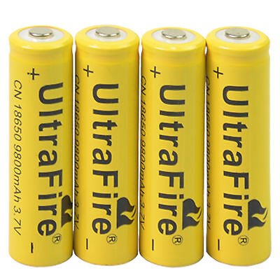 4x 3.7V 18650  9800mAh Li-ion Rechargeable Battery For Flashlight Torch LED LAMP