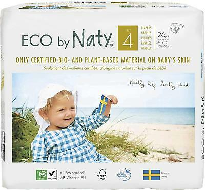 Eco By Naty Premium Disposable Diapers For Sensitive Skin, Size 4, 7 To 18 Kg,