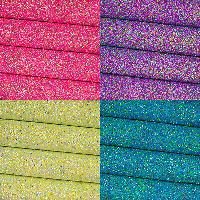 New Sequin Chunky Glitter Fabric - Premium Quality A4 Sheets for Bows and Crafts