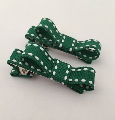 2 Packs Of Forest GreenWith Stripe hair bow Clips/hair Accesories/School Uniform