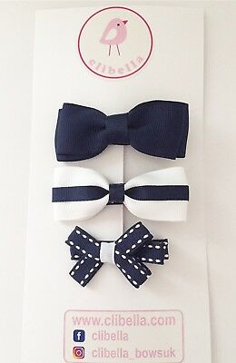 3 Packs Of White And Navy  Hair Clips/pack Of School Uniform